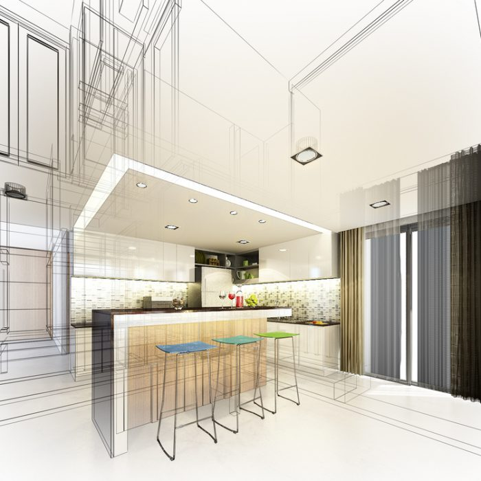 Abstract,Sketch,Design,Of,Interior,Kitchen